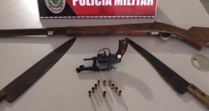 Armas e munições apreendidas em Mamanguape.